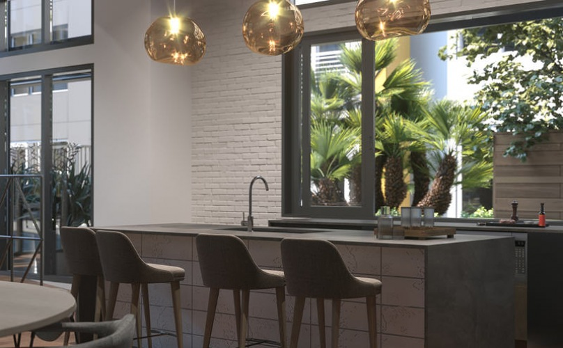 clubroom kitchen with pendant lighting