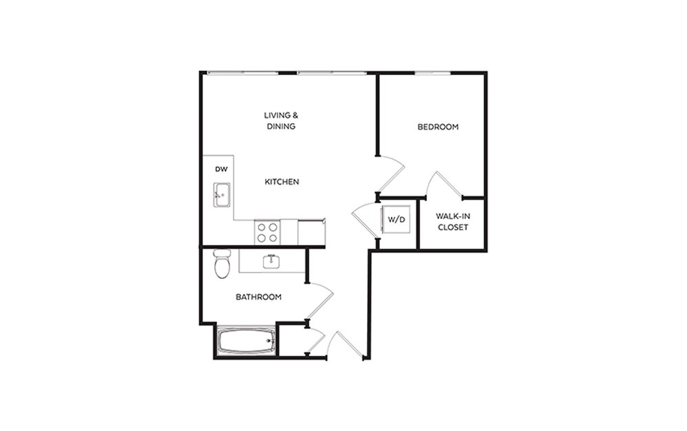 B1 - 1 bedroom floorplan layout with 1 bath and 538 square feet.