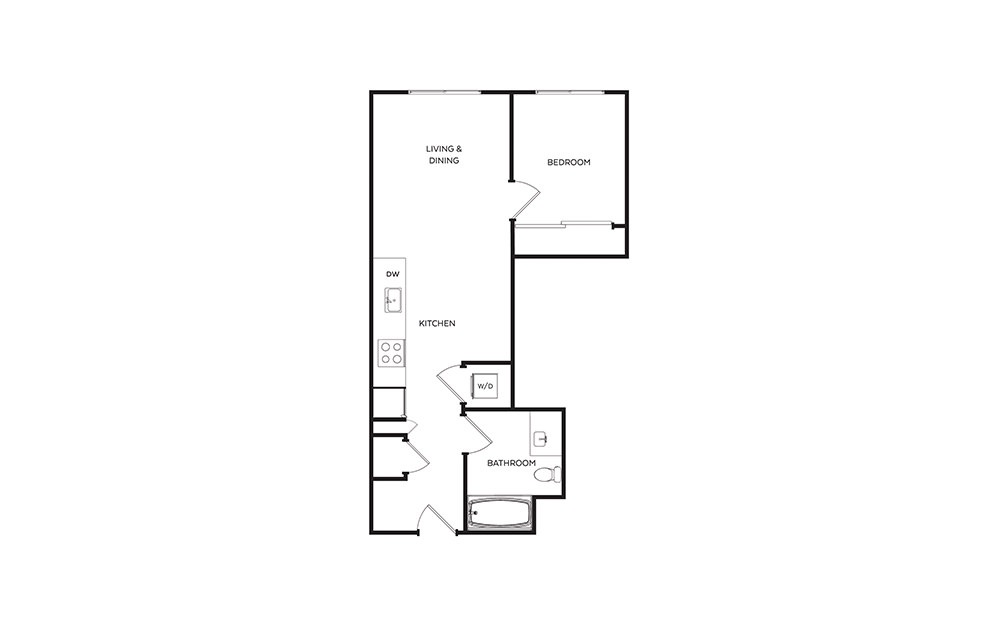 B10 - 1 bedroom floorplan layout with 1 bath and 600 square feet.