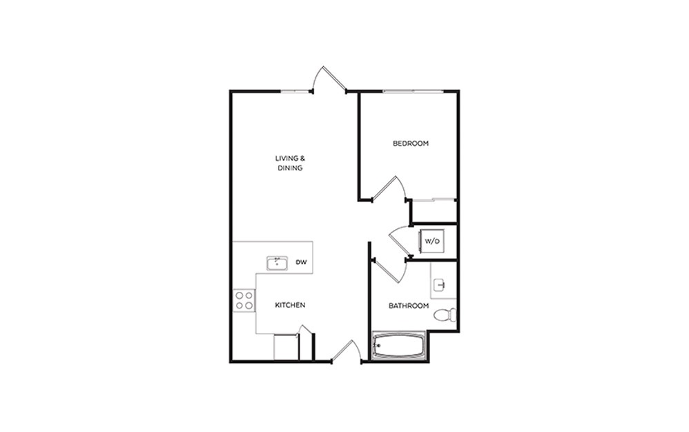 B12 - 1 bedroom floorplan layout with 1 bath and 622 square feet.