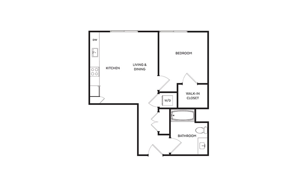 B2 - 1 bedroom floorplan layout with 1 bath and 586 square feet.