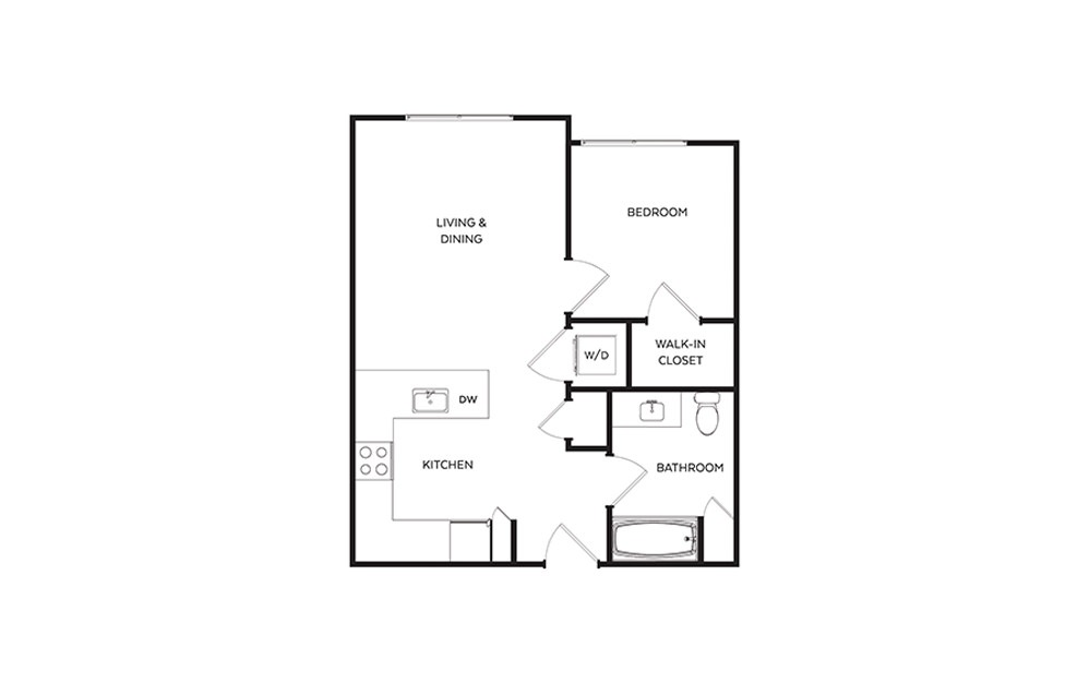 B3 - 1 bedroom floorplan layout with 1 bath and 576 to 596 square feet.
