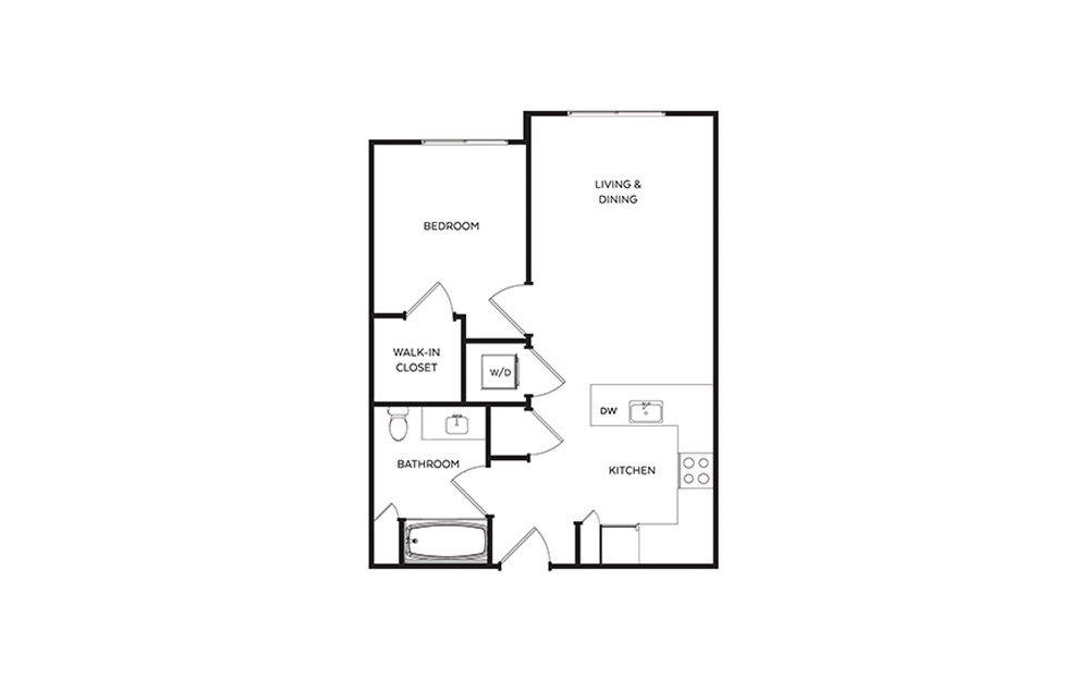 B4 - 1 bedroom floorplan layout with 1 bath and 550 to 621 square feet.