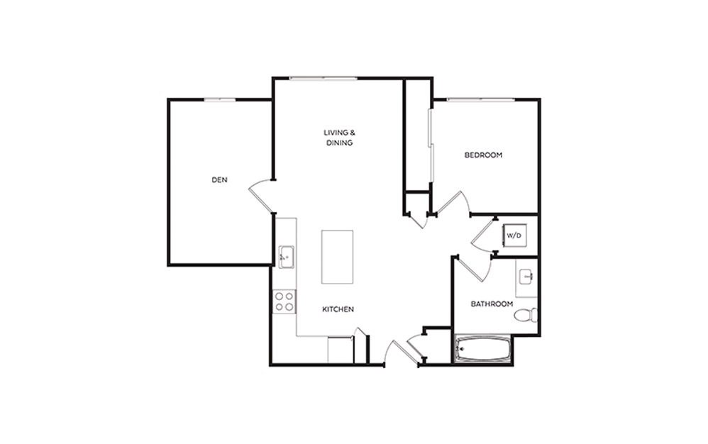 B5.6  - 1 bedroom floorplan layout with 1 bath and 809 square feet.