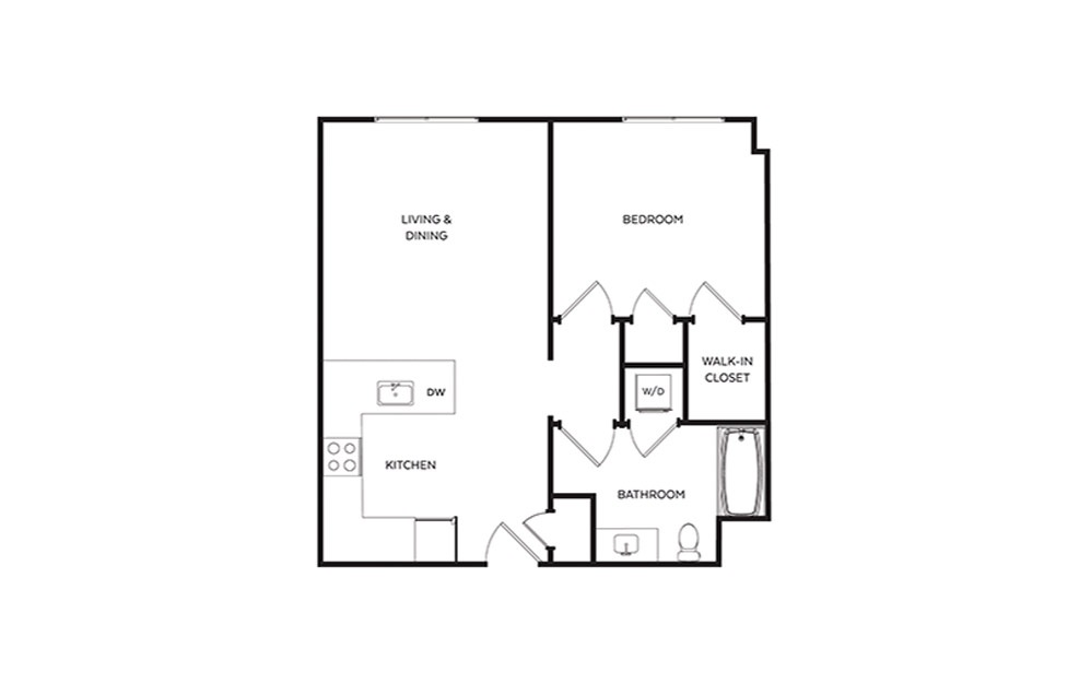 B6  - 1 bedroom floorplan layout with 1 bath and 692 square feet.