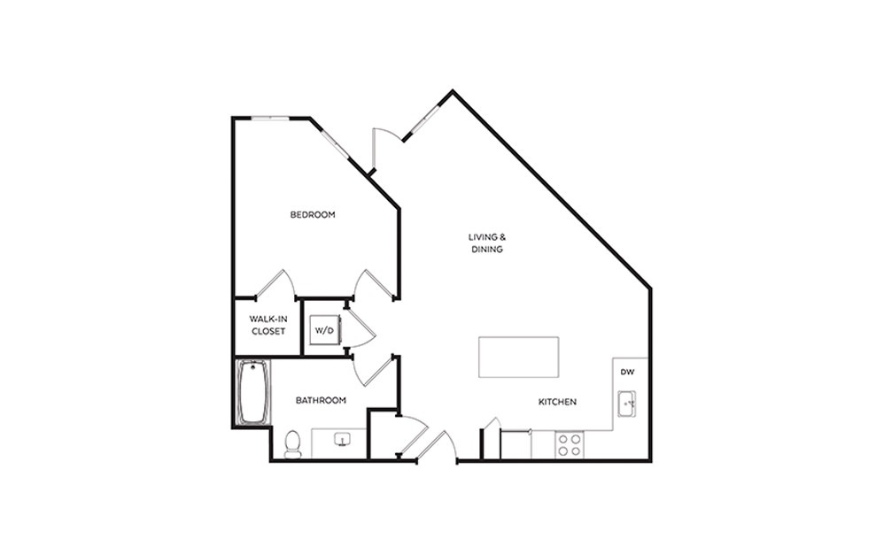 B8 - 1 bedroom floorplan layout with 1 bath and 777 square feet.