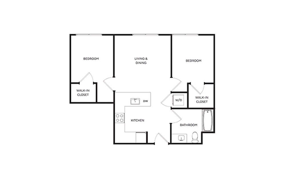 C1 - 2 bedroom floorplan layout with 1 bath and 744 square feet.
