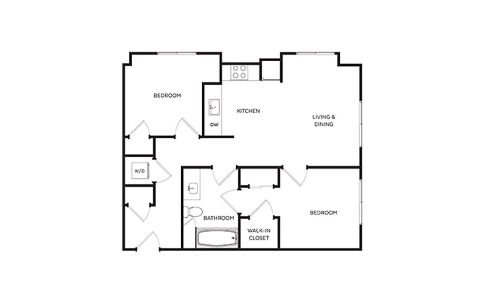 C3 - 2 bedroom floorplan layout with 1 bath and 757 to 791 square feet.