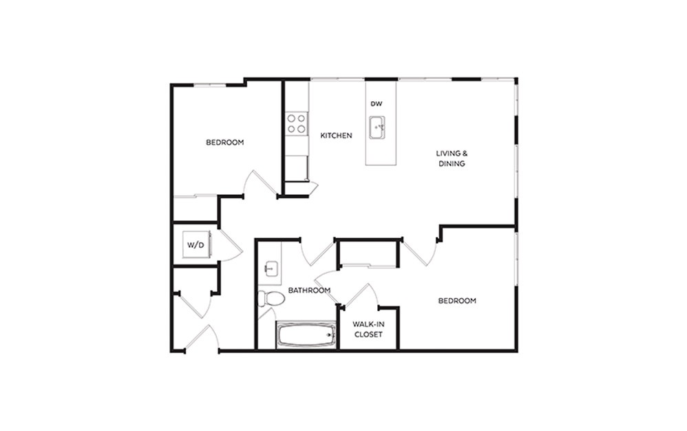 C3.1 - 2 bedroom floorplan layout with 1 bath and 831 to 884 square feet.