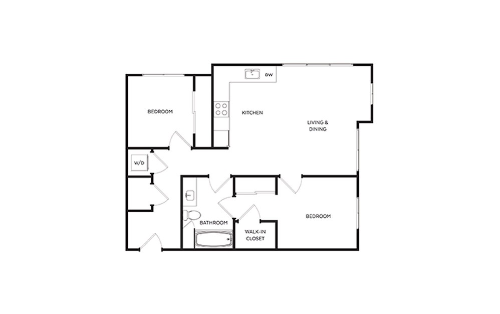 C3.2 - 2 bedroom floorplan layout with 1 bath and 878 square feet.