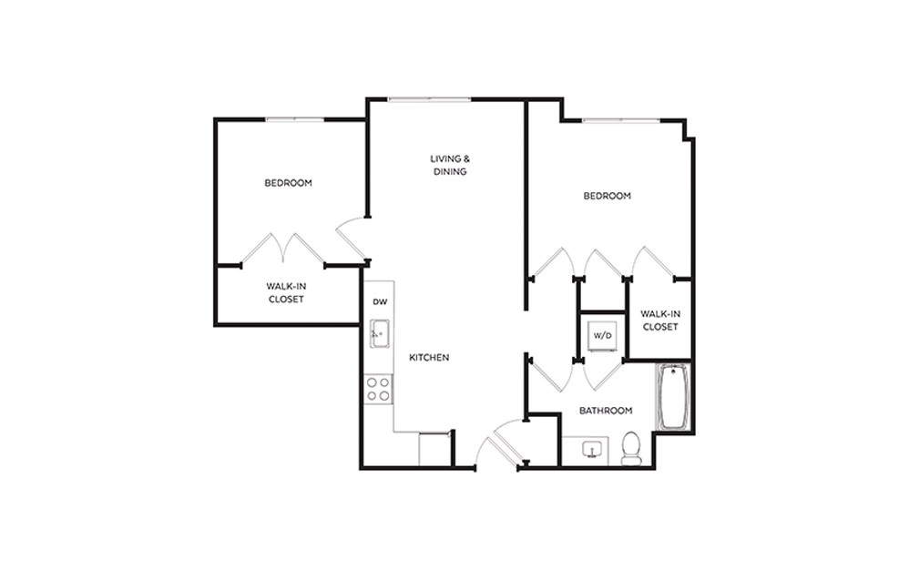 C4 - 2 bedroom floorplan layout with 1 bath and 869 square feet.