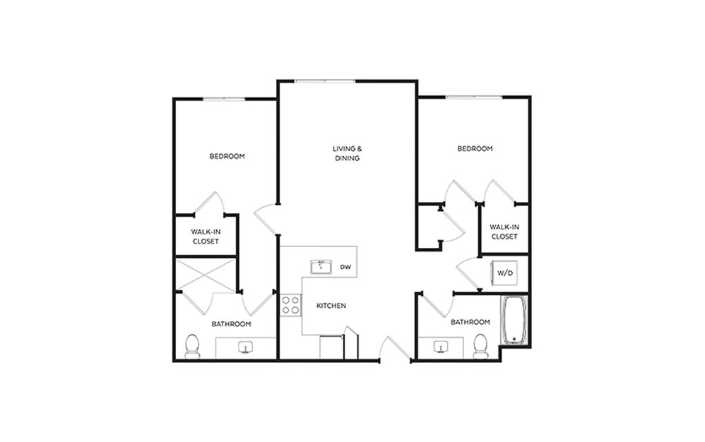 C7 - 2 bedroom floorplan layout with 2 baths and 964 to 1000 square feet.