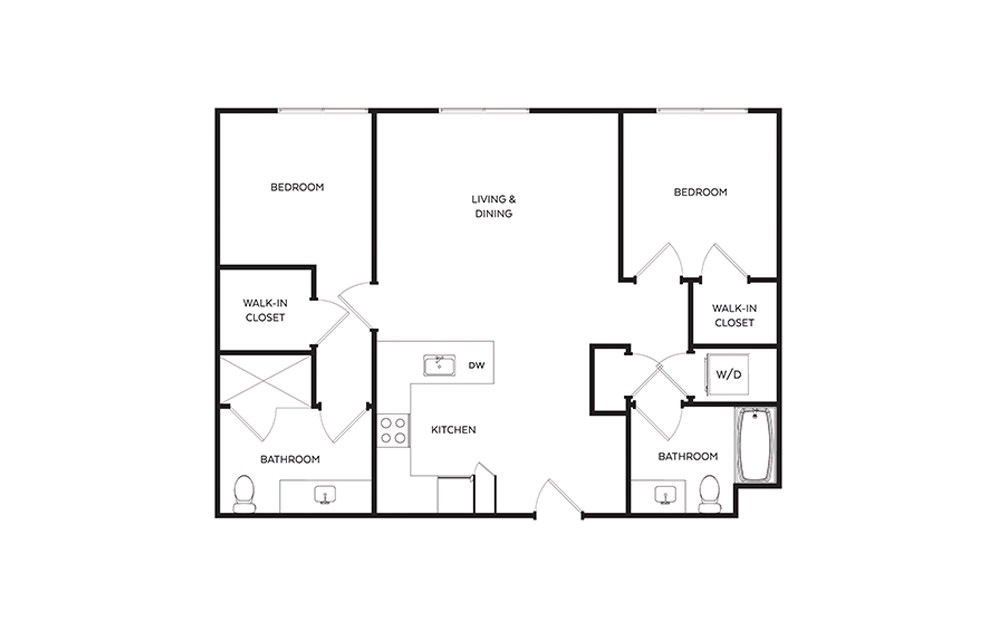 C8 - 2 bedroom floorplan layout with 2 baths and 1009 to 1018 square feet.