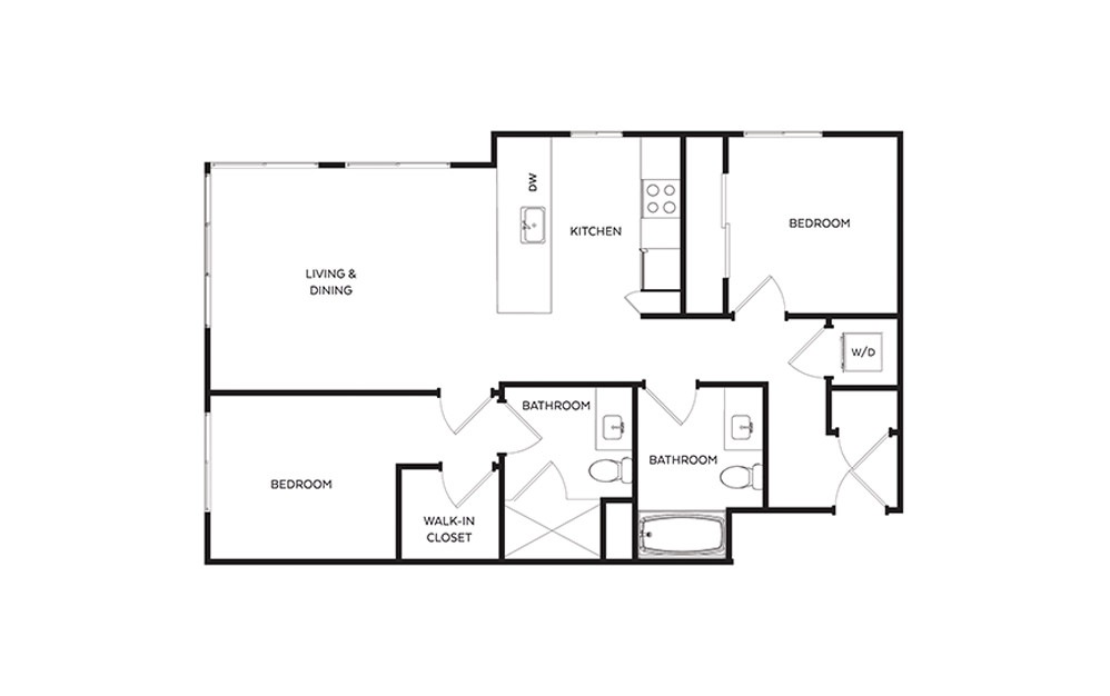 C9 - 2 bedroom floorplan layout with 2 baths and 947 square feet.