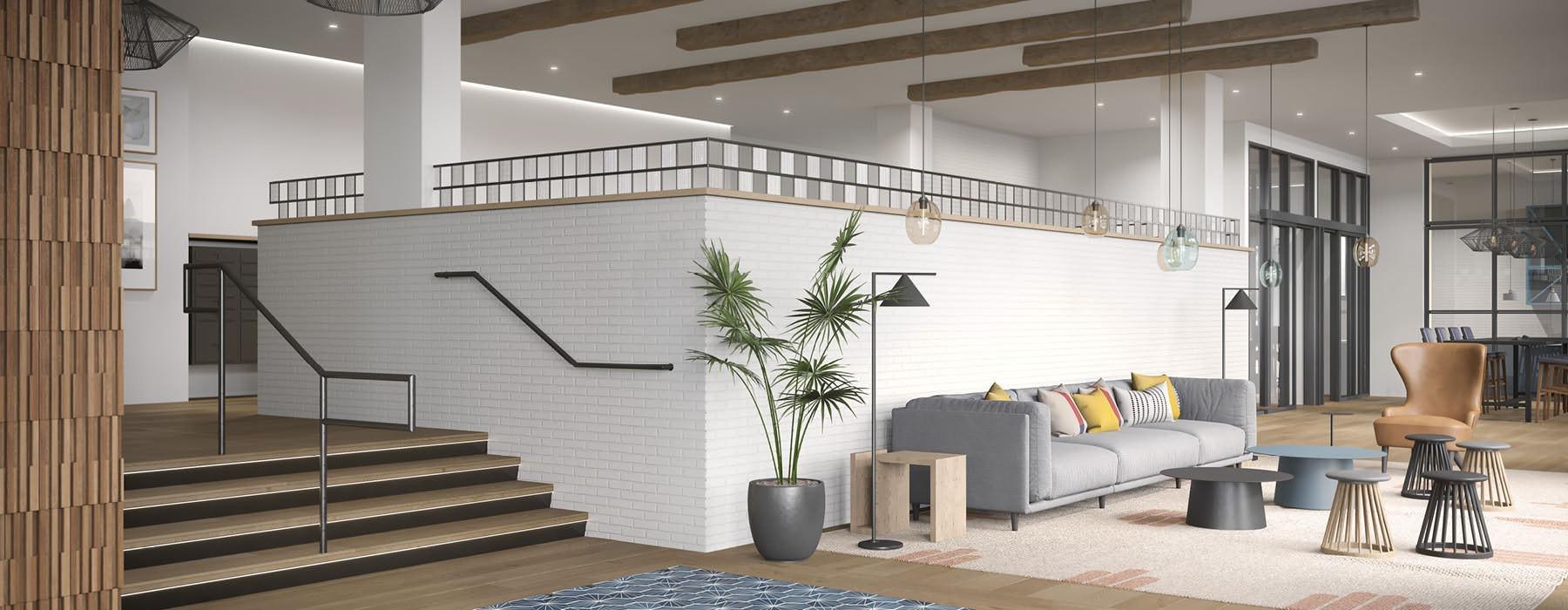 two floor lobby rendering