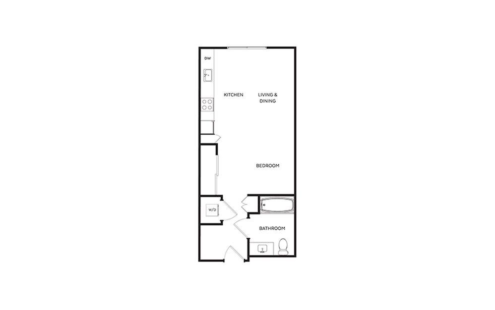 S1 - Studio floorplan layout with 1 bath and 497 square feet.