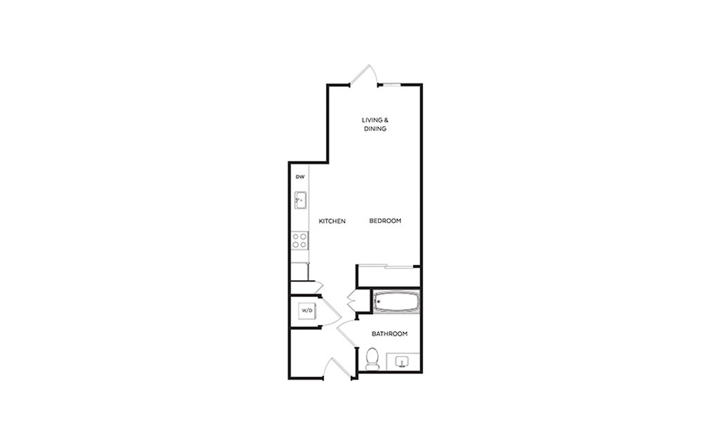 S1E - Studio floorplan layout with 1 bath and 460 square feet.