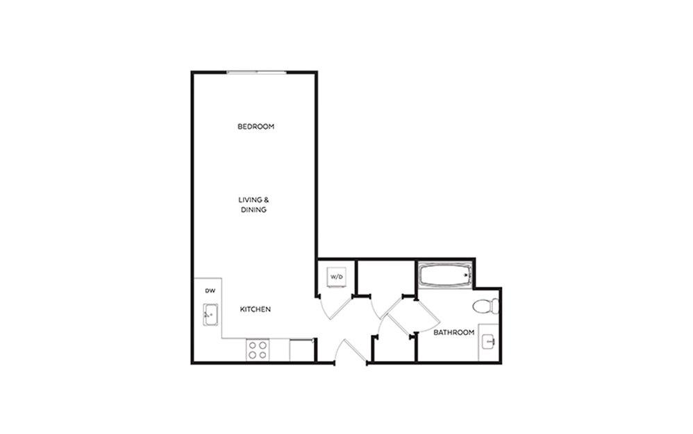 S2 - Studio floorplan layout with 1 bath and 552 square feet.