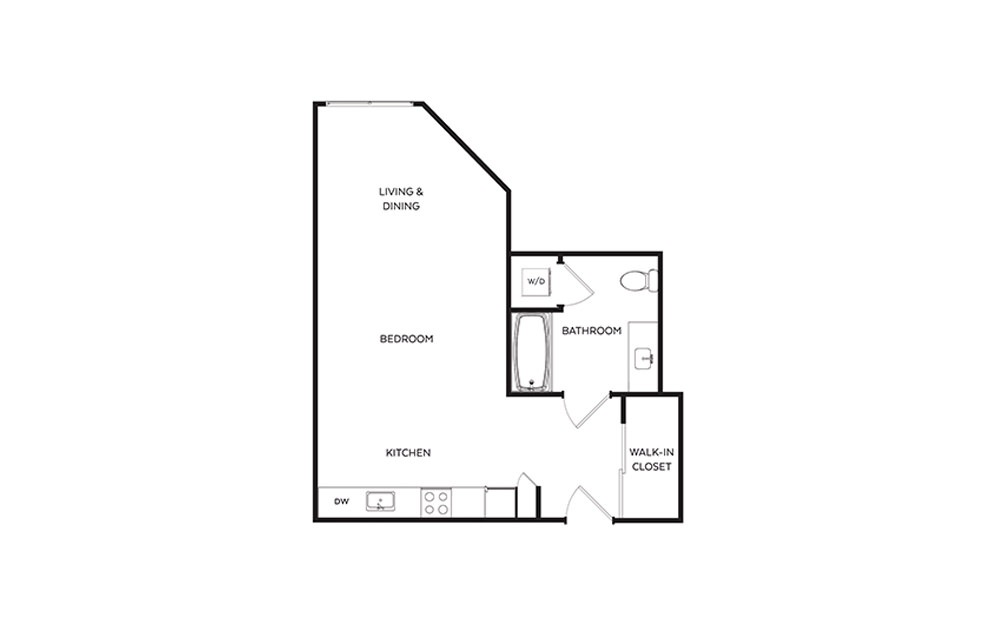 S4 - Studio floorplan layout with 1 bath and 552 square feet.