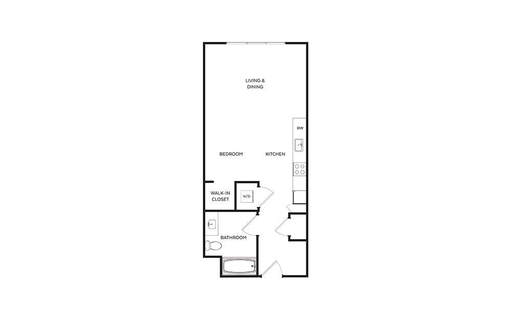 S5 - Studio floorplan layout with 1 bath and 578 square feet.