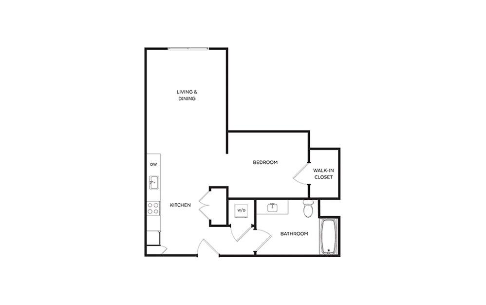 S6 - Studio floorplan layout with 1 bath and 649 square feet.