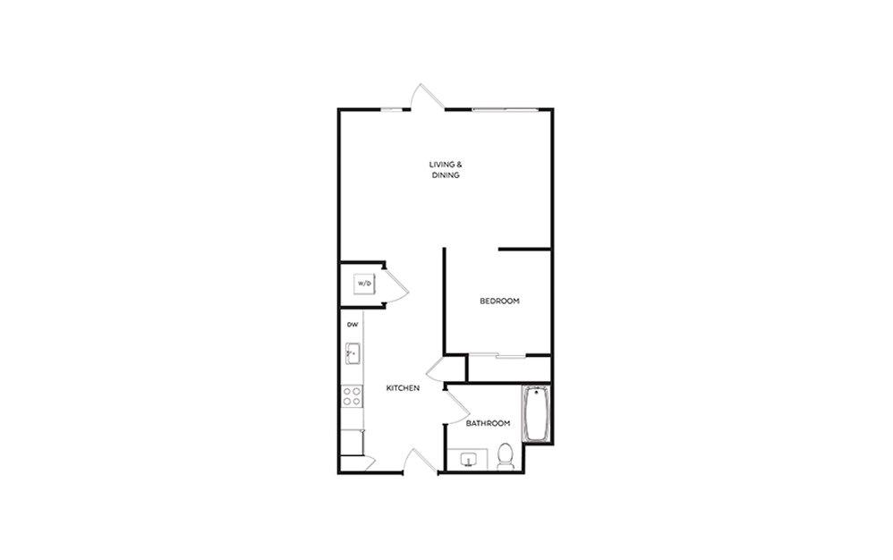 S7 - Studio floorplan layout with 1 bath and 645 square feet.